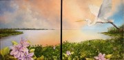 Sunset Yellow Cotton Bay, Diptych, Oil on canvas