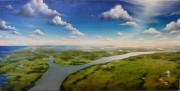 Mississippi River at and near Red Pass Gulf of Mexico, Diptych, Oil on canvas, each 15 x 30