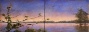 Dusk Pelican Roost at Venice Marina, Diptych, Oil on canvas, 12 x 16 each, 12 x 32 total