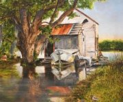 High Water, 4 Mile Bayou at Bayou Magazille  36 x 24 inches, oil on canvas