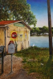 Bait Shop, Bayou Milhomme,  Stephensville  30 x 20 inches, oil on canvas