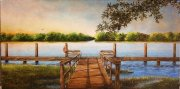 Captain Caviar's Dock, Bayou Teche at Patterson  10 x 20 inches  oil on canvas