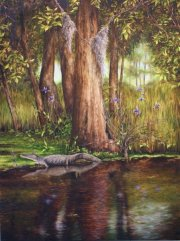 Gator and Wild Iris, 4 Mile Bayou at Bayou Magazille  48 x 36 inches, oil on canvas