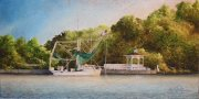 Shrimp Boat with Butterfly Nets. Bayou Teche near Patterson-Bayou Vista  10 x 20 inches, oil on canvas