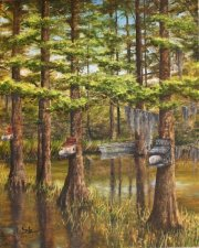 Wood Duck Houses, 4 Mile Bayou at Flat Lake  20 x 16 inches, oil on canvas