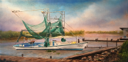 Bait Boat, Shrimpers Row at Bayou Dulac, LA 10 x 20 inches oil on canvas