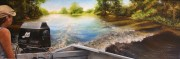 Captain Tony's Swamp Tour, Bayou Black at Gibson, LA 10 x 30 inches, oil on canvas