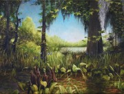 Cypress Knees with Louisiana Wild Iris and Palmetto on Bayou Black 30 x 40 inches, oil on canvas