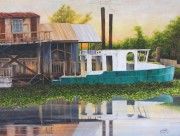 Decommissioned Boat on Bayou Petit Gaillou at Chauvin, LA 36 x 48 inches, oil on canvas