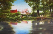 Egret and Pier on Bayou Black, Captain Tony's at Gibson ,LA 20 x 30 inches, oil on canvas