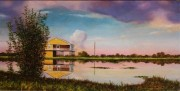 Shrimper's Row at Bayou Dulac, Dulac, LA 10 x 20 inches oil on canvas