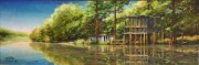 Sleeping Porch on Bayou Black at Gibson, LA 10 x 30 inches, oil on canvas