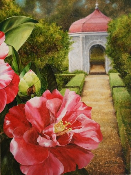 Variegated Camellia, St. Francisville 24 x 18 inches, oil on canvas