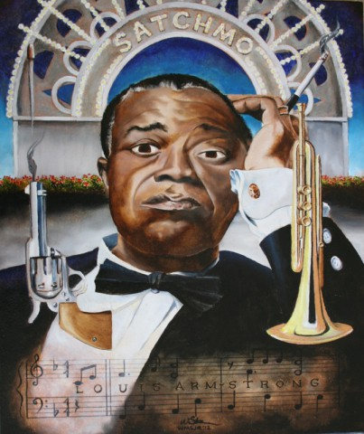 Louis Satchmo Armstrong, 24 x 20 inches, oil on canvas