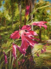 Byzantine Gladiola, Pearl River 24 x 18 inches, oil on canvas