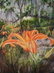 Day Lilies, Pearl River 48 x 36 inches, oil on canvas
