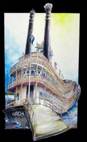Natchez Riverboat, Ready-to-hang plaques on jigsawed wood under a glossy epoxy resin topcoat. No frame needed.