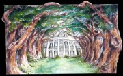 Oak Alley Plantation, Ready-to-hang plaques on jigsawed wood under a glossy epoxy resin topcoat. No frame needed.