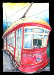 Riverfront Streetcar, Ready-to-hang plaques on jigsawed wood under a glossy epoxy resin topcoat. No frame needed.