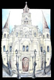 Saint Louis Cathedral, Ready-to-hang plaques on jigsawed wood under a glossy epoxy resin topcoat. No frame needed.