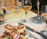 Table for Two, 30 x 20 inches, oil on canvas