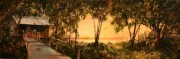 Cabin on Fleming Plantation, 10 x 30 inches, oil on canvas