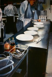 Line Cooks, 30 x 20 inches, oil on canvas