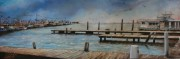 Lafitte Marina, 10 x 30 inches, oil on canvas