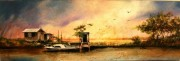 School Bus Canal, 10 x 30 inches, oil on canvas