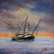 Shrimpers in the Gulf, 10 x 10 inches, oil on canvas