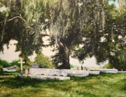 Ancestors of Lafitte, Old Berthoud Cemetery, Fleming Plantation, Lafitte, 36x48 inches, 14K gold, oil on canvas