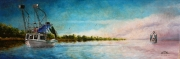 Barataria Evening, 10 x 30 inches, 14K gold, oil on canvas