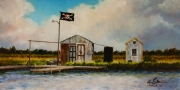 Barataria Welcome, 10 x 20 inches,14K gold, oil on canvas