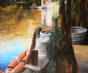 Bayou Lafourche, 20 x 30 inches, 14K gold, oil on canvas