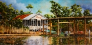 Camp Bayou Self, Barataria Canal, 10 x 20 inches, 14K gold, oil on canvas