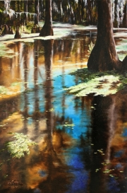 Honey Island Swamp, 20 x 30 inches, 14K gold, oil on canvas