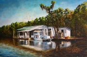 Honey Island Swamp Camp, 20 x 30 inches, 14K gold, oil on canvas