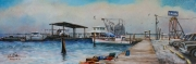 Grand Isle Marina, 10 x 30 inches, 14K gold, oil on canvas