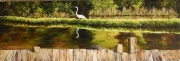 Egret, Cowan Bayou, Pearl River 10 x 30 inches, 14K gold, oil on canvas