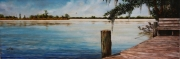 Pearl River Dock, 10 x 30 inches, 14K gold, oil on canvas